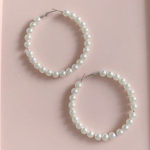 Jewelry - large pearl hoop earrings